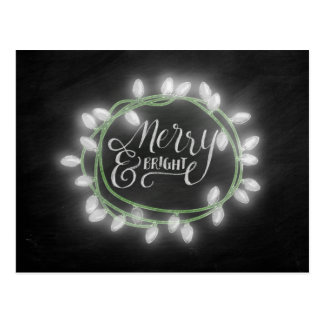 White Chalk Drawn Merry and Bright Holiday Postcard