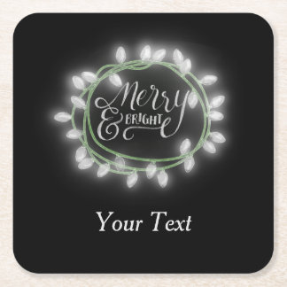 White Chalk Drawn Merry and Bright Holiday Square Paper Coaster