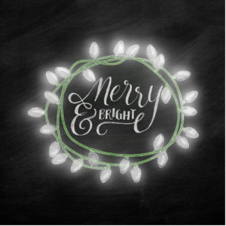 White Chalk Drawn Merry and Bright Holiday Statuette