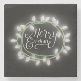 White Chalk Drawn Merry and Bright Holiday Stone Coaster