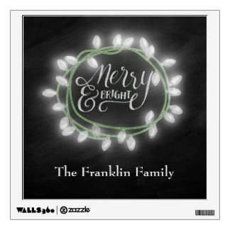 White Chalk Drawn Merry and Bright Holiday Wall Sticker
