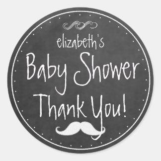 White Chalkboard Look Mustache  Baby Shower Favor Classic Round Sticker