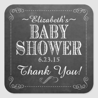White Chalkboard Look with Scrolls Baby Shower Square Sticker