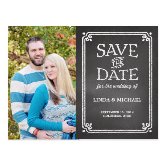 White Chalkboard Photo Save the Date Post Card