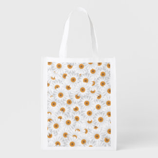 White Chamomile Flower Pattern Grocery Bag