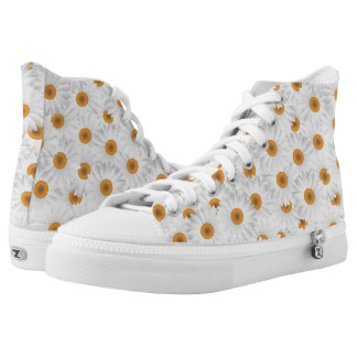 White Chamomile Flower Pattern High-Top Sneakers