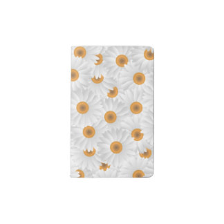 White Chamomile Flower Pattern Pocket Moleskine Notebook