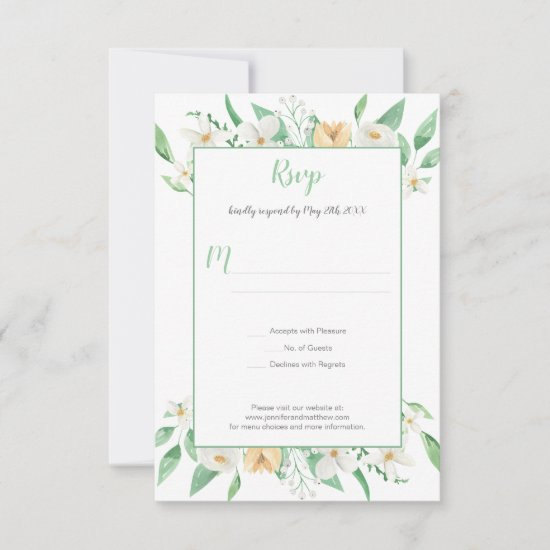 White Champagne and Green Floral Frame | RSVP Card