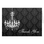 White Chandelier Black Damask Thank You Note Stationery Note Card