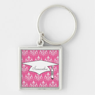 white chandelier chic pink damask graduation Silver-Colored square keychain