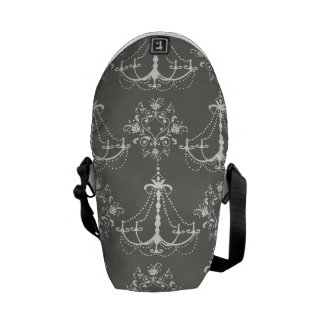 white chandelier damask on grey silver courier bag