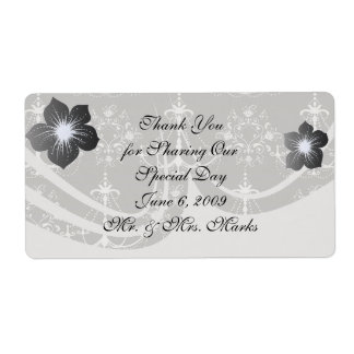 white chandelier damask on grey silver shipping label
