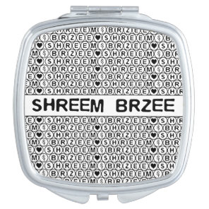 White Chant Shreem Brzee money mantra Compact Mirror