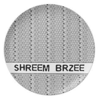 White Chant Shreem Brzee money mantra Party Plates