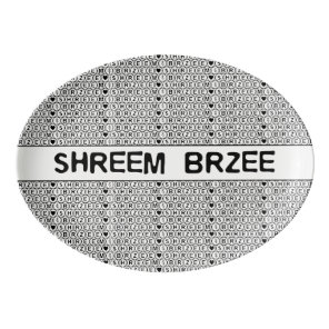 White Chant Shreem Brzee money mantra Porcelain Serving Platter