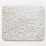 White Chantilly Lace Mouse Pad