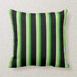 [ Thumbnail: White, Chartreuse, Grey, Forest Green & Black Throw Pillow ]
