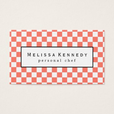 Professional Business White Checkered Pattern Business Cards Coral