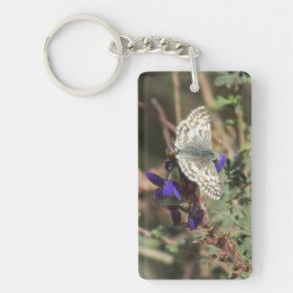 White Checkered Skipper Butterfly Keychain