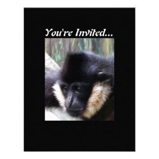 White Cheeked Gibbon Pastel Custom Invite