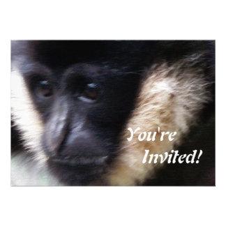 White Cheeked Gibbon Pastel Custom Invites