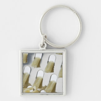 white cheese, cheddar, stainless cheese grater Silver-Colored square keychain
