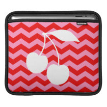 White Cherries on Red Zigzag Sleeve For iPads
