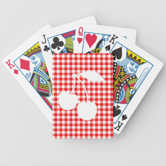 White Cherries Red Gingham Bicycle Poker Cards