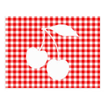 White Cherries Red Gingham Postcard