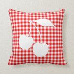 White Cherries Red Gingham Throw Pillow