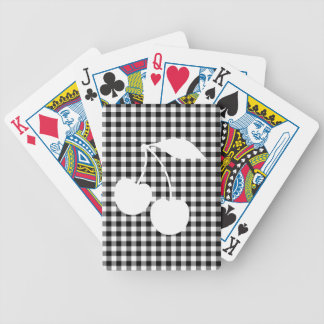 White Cherries with Black Gingham Bicycle Poker Deck