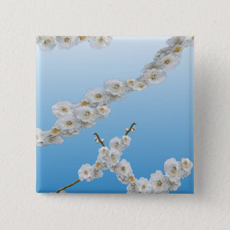 White Cherry Blossom Button