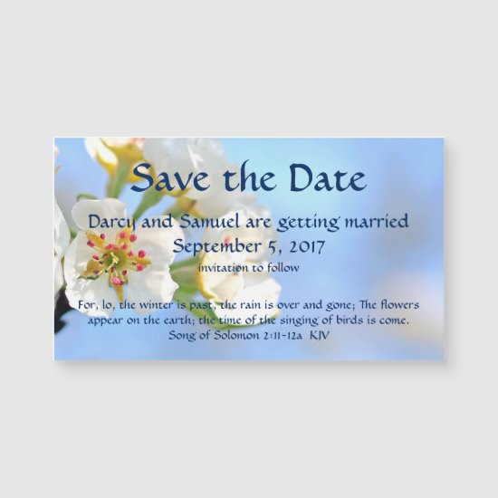 White Cherry Blossom Christian Save The Date