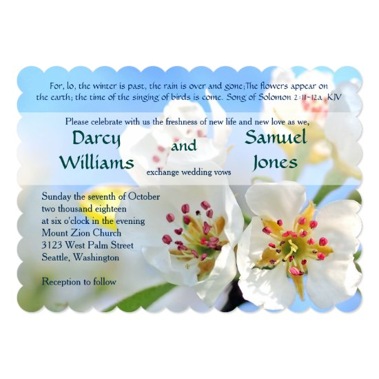 White Cherry Blossom Christian Wedding Invitation