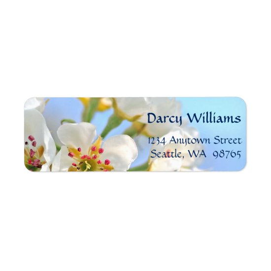 White Cherry Blossom Christian Wedding Label