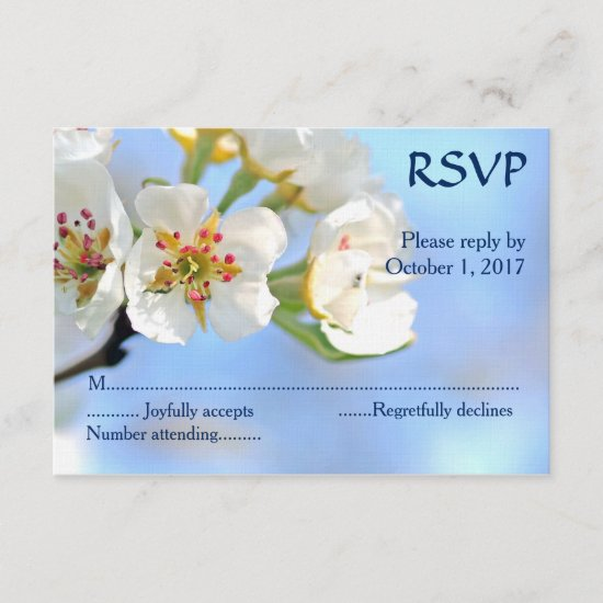 White Cherry Blossom Christian Wedding RSVP