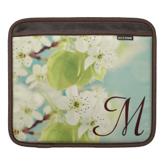 White Cherry Blossom Flow Monogram IPAD Laptop Bag iPad Sleeve
