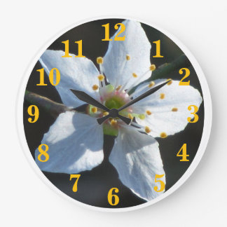 White Cherry Blossom Flower Large Clock