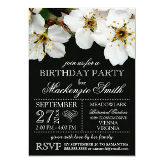 White Cherry Blossom Flowers Birthday Party 4.5x6.25 Paper Invitation Card