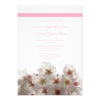 White cherry blossom flowers wedding invitation