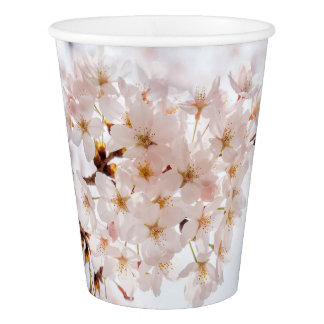 White Cherry Blossom Paper Cup