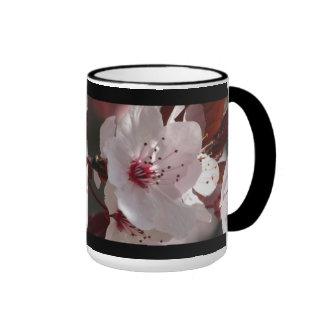 White Cherry Blossom Ringer Mug