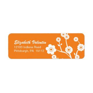 White Cherry Blossom Silhouette Address Labels