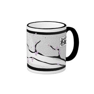 White Cherry Blossom Tree Ringer Coffee Mug
