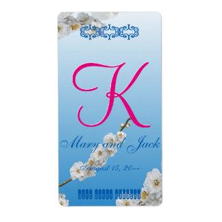 White Cherry Blossoms 3d Monogram Label