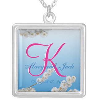 White Cherry Blossoms 3d Monogram Silver Plated Necklace