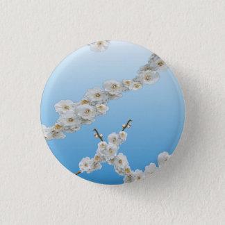 White Cherry Blossoms Button