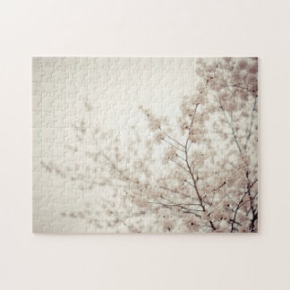 White Cherry Blossoms - Central Park Spring Jigsaw Puzzle
