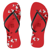 White Cherry Blossoms Chinese Wedding Flip Flops