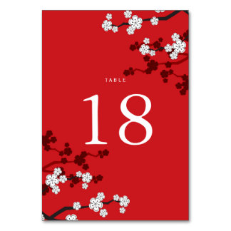 White Cherry Blossoms Chinese Wedding Table Number Card